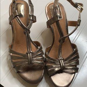 Clark's Bendables Gold Wedge Sandals - Sz 7W